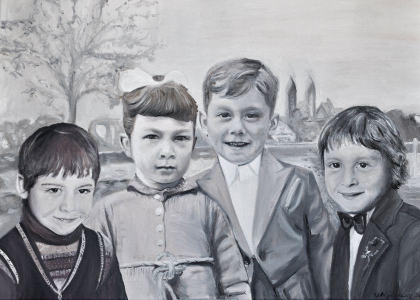 Vier Geschwister am Rhein, Gemälde
